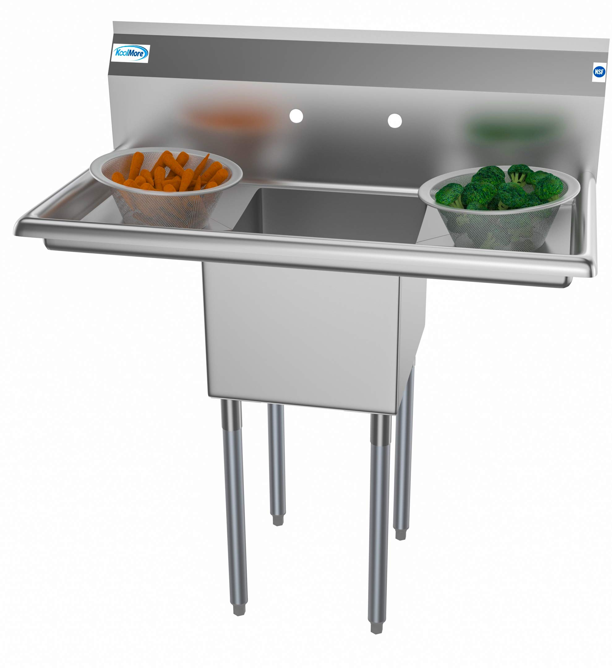 KoolMore 1 Compartment Stainless Steel NSF Commercial Kitchen Prep & Utility Sink with 2 Drainboards - Bowl Size 14'' x 16'' x 11'', Silver