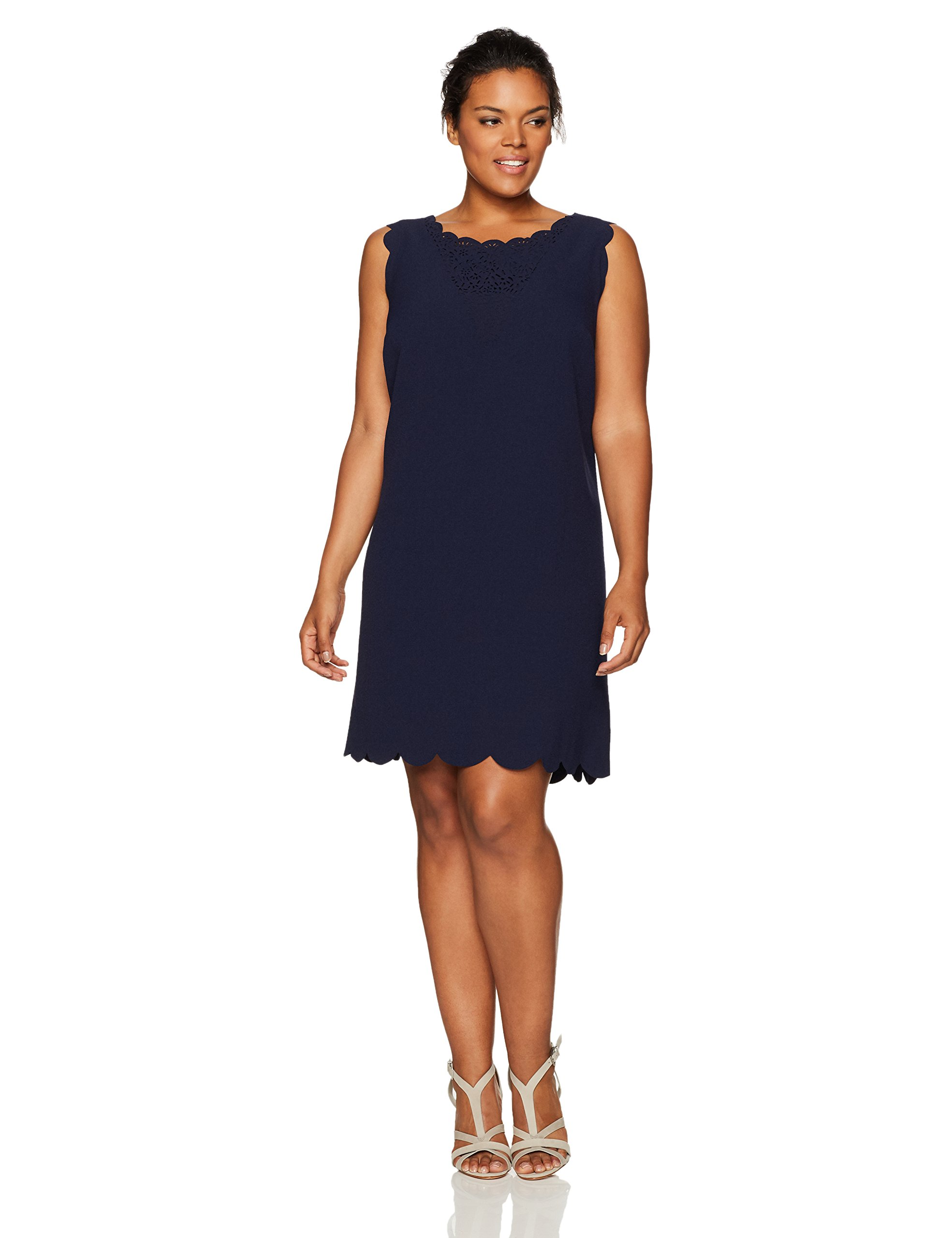 Julia Jordan Women's Plus Size One Piece Cut Out Neck Sleeveless Sheath, Navy, 16W by Julia Jordan
