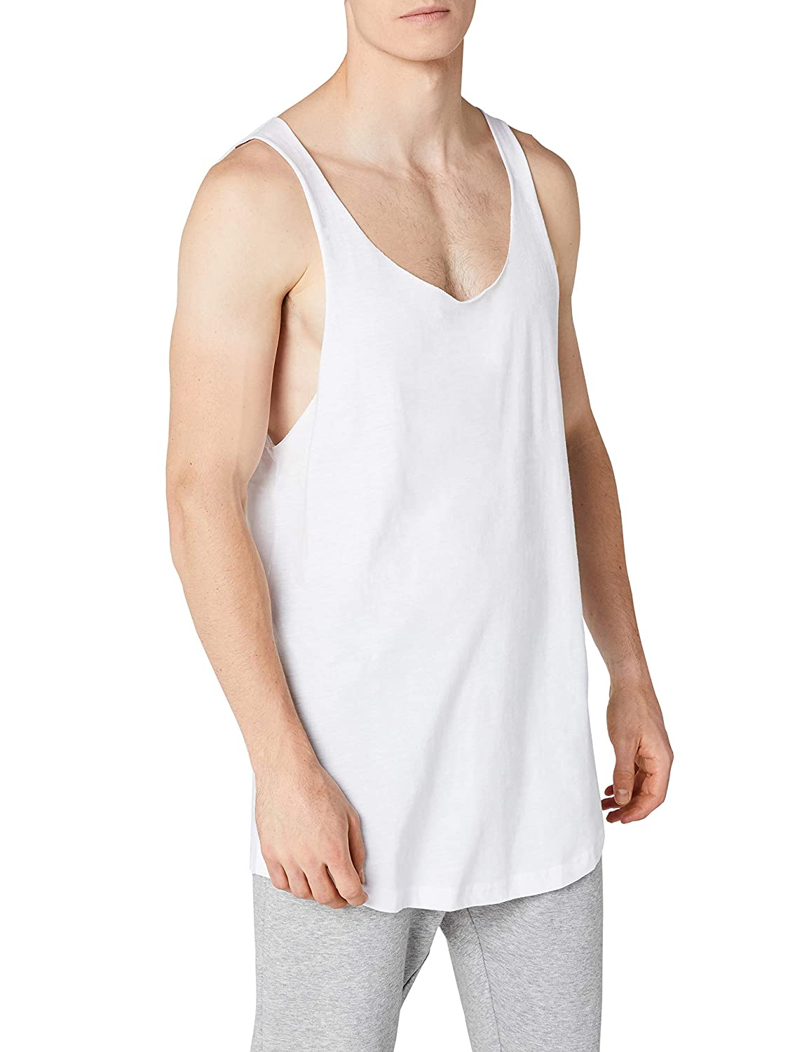 426583fa41bef5 Urban Classic Men Overwear Tank Tops Long Shaped Open Edge Loose   Amazon.co.uk  Clothing