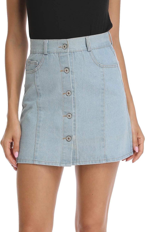 kefirlily Falda Vaquera de Mujer Slim Fit A-Line Mini Falda Jeans Cintura Alta Casual