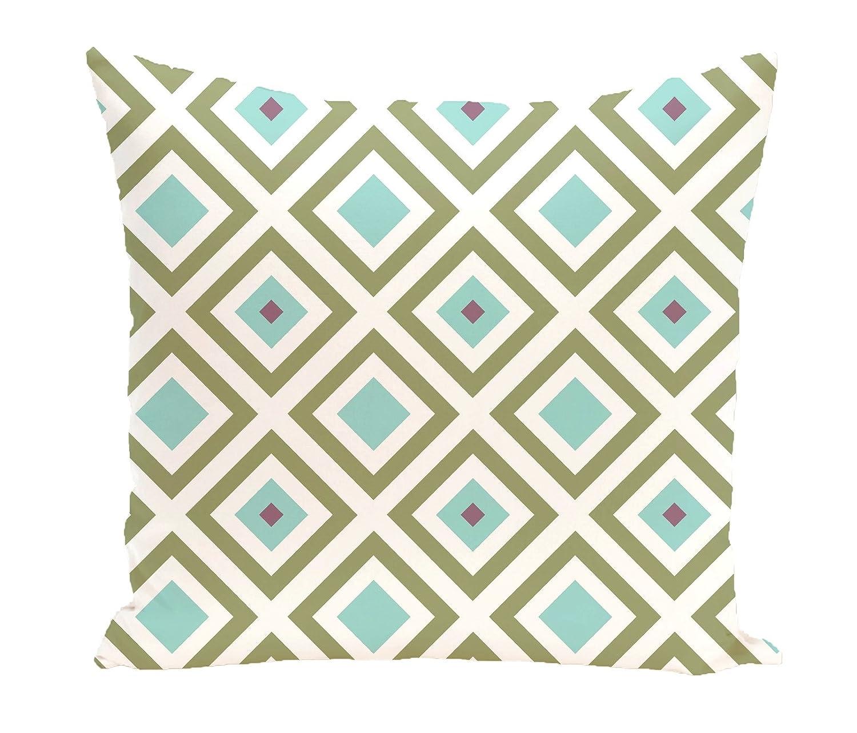 Aqua Ebydesign Diamond Mayhem Geometric Print Pillow