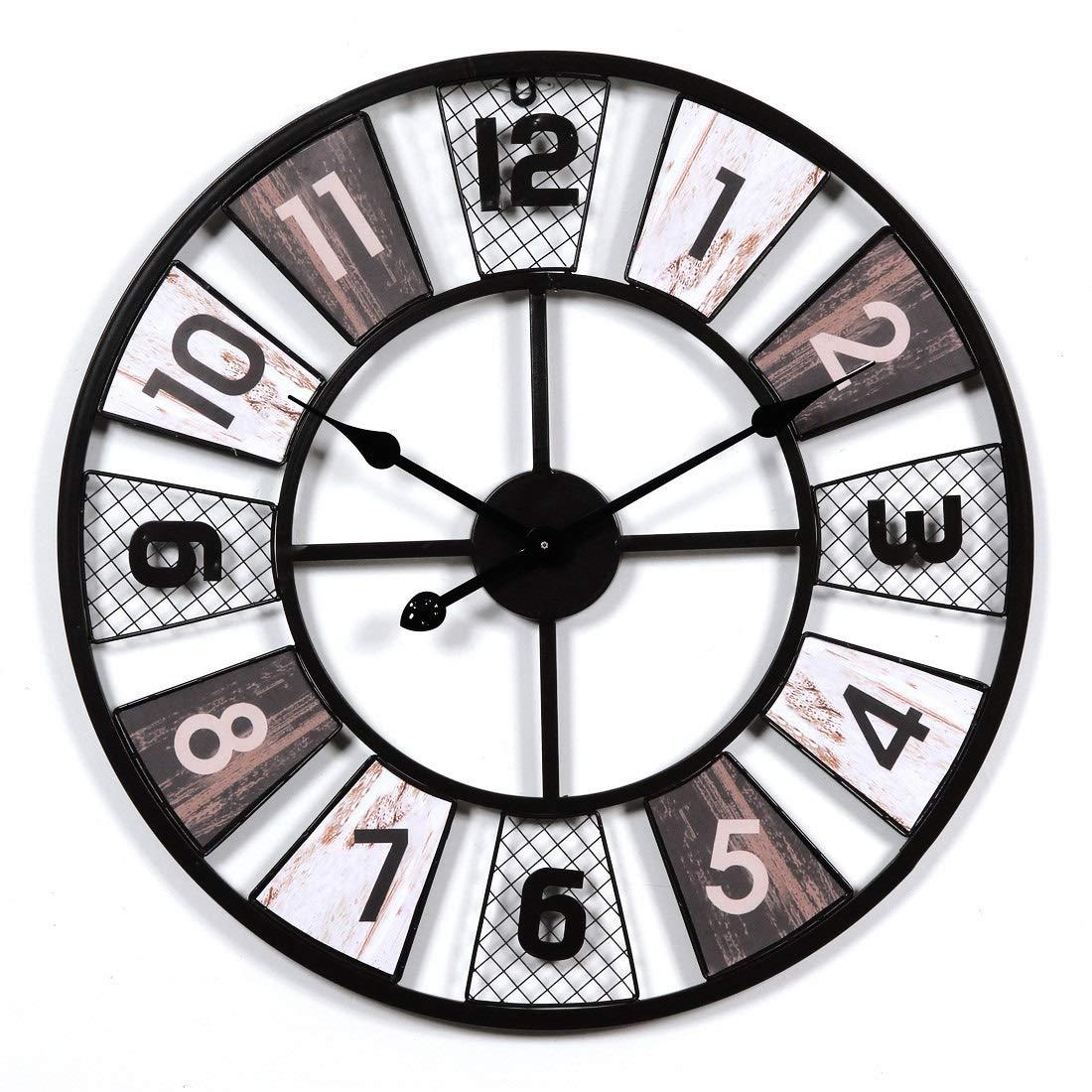 壁掛け時計、大型金属製壁掛け時計、ヴィンテージヨーロッパ美術の壁掛け時計、リビングルーム用掛け時計、掛け時計大型キッチン、サイレントノンチック、家の装飾60 * 60 cm Bac bac B07SLXF2JN