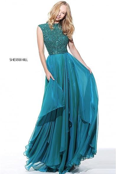 Sherri Hill 50807 Cap Sleeve Beaded Gown (US14 UK18, Jade)