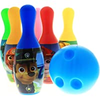 Disney Marvel Bowling Set in Display Box 6 Pins and Bowling Ball for Kids (Paw Patrol Blue)