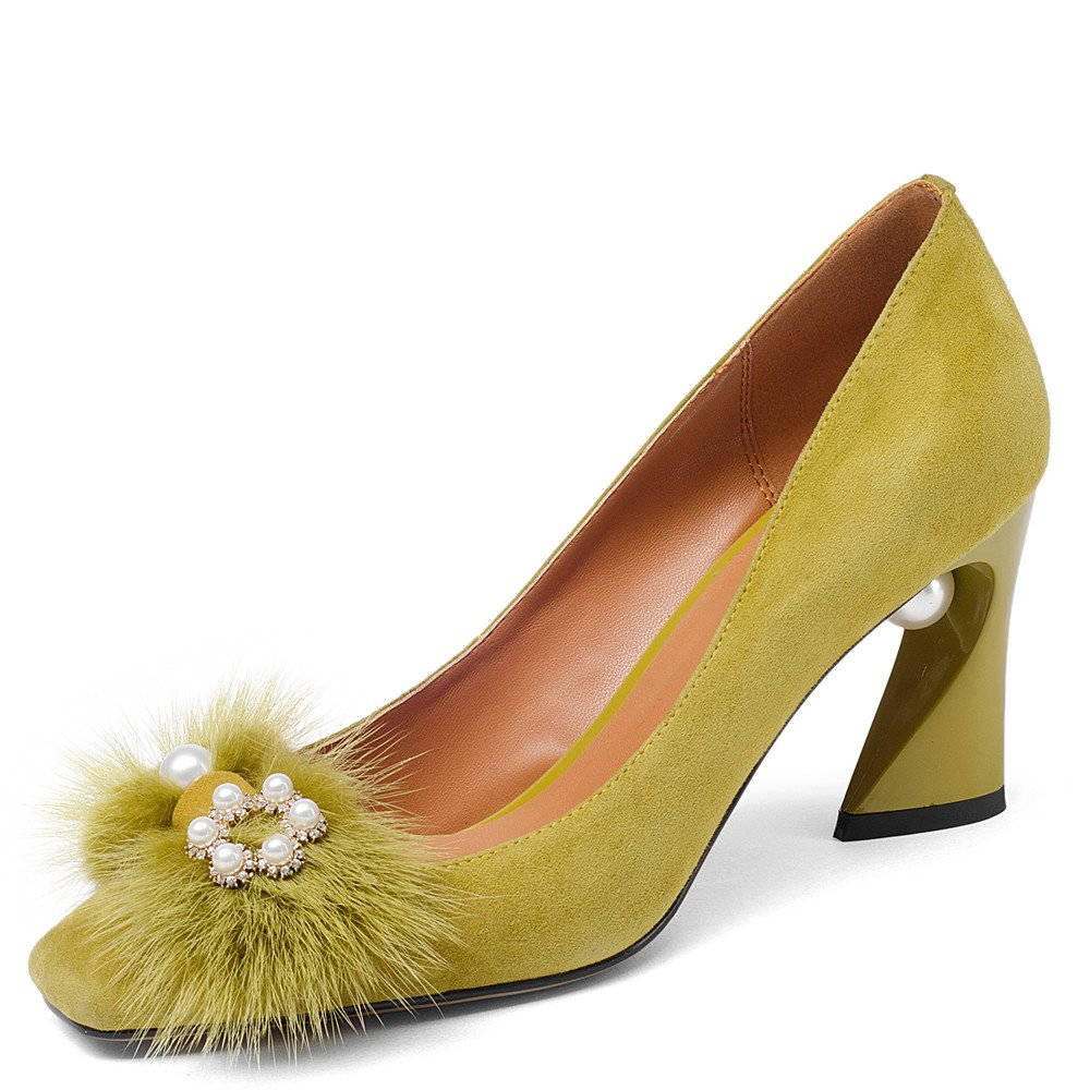 Nine Seven Women's Square Toe Chunky Heels, Vintage Floral Handmade Dress Pumps with Fur Peal B07B49JQ1B 6 B(M) US|Yellow
