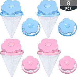 8 Pieces Household Washing Machine Lint Catcher, Washing Machine Lint Traps, Household Reusable Washing Machine Floating Lint Mesh Bag Hair Filter Net Pouch (Pink, Blue)