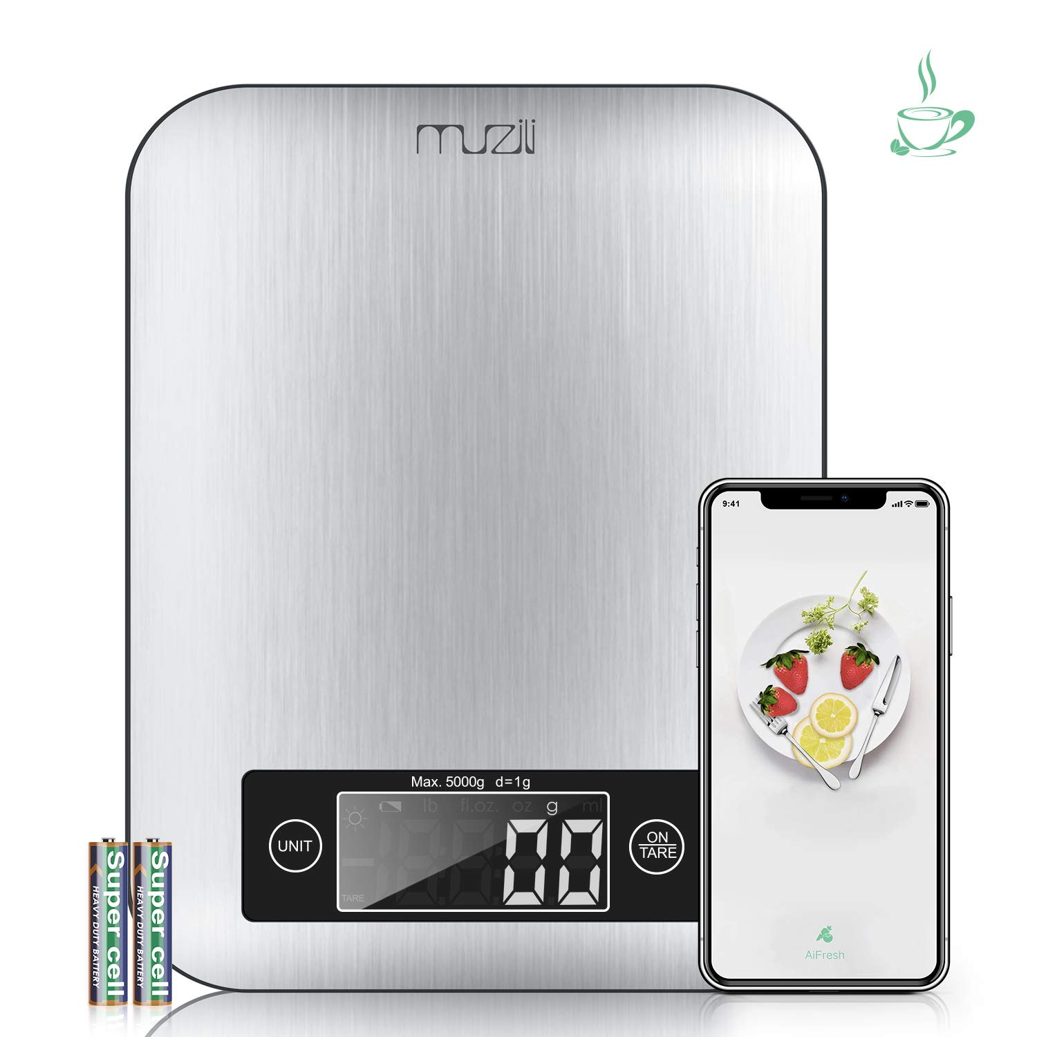 Muzili Smart Kitchen Scale with Nutritional Calculator and Timer, 3 in 1 Functions as Food Scale, Coffee Scale, Digital Kitchen Scale, APP Controlled to Show Calorie, Protein,Fat or so for Health Life by Muzili