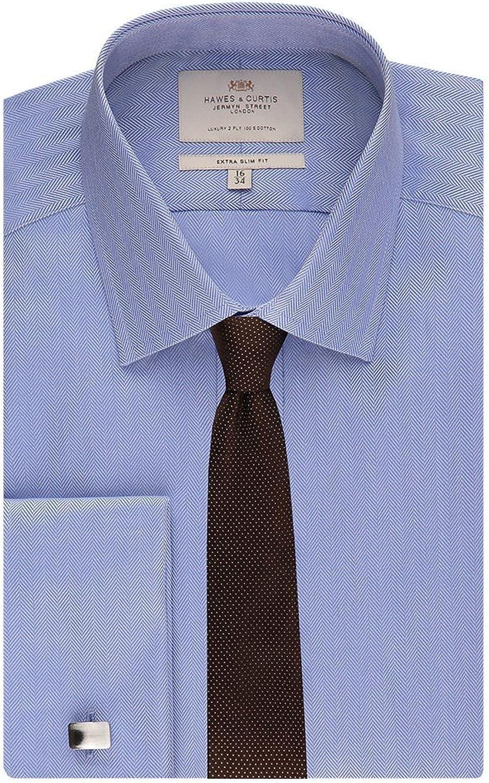 French Cuff HAWES /& CURTIS Mens Blue Herringbone Extra Slim Fit Shirt Easy Iron