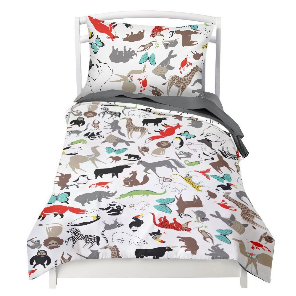 Where The Polka Dots Roam Twin Animal Duvet Cover Set with 1 Pillowcase for Kids Bedding - Double Brushed Microfiber (68'' L X 86'' W)