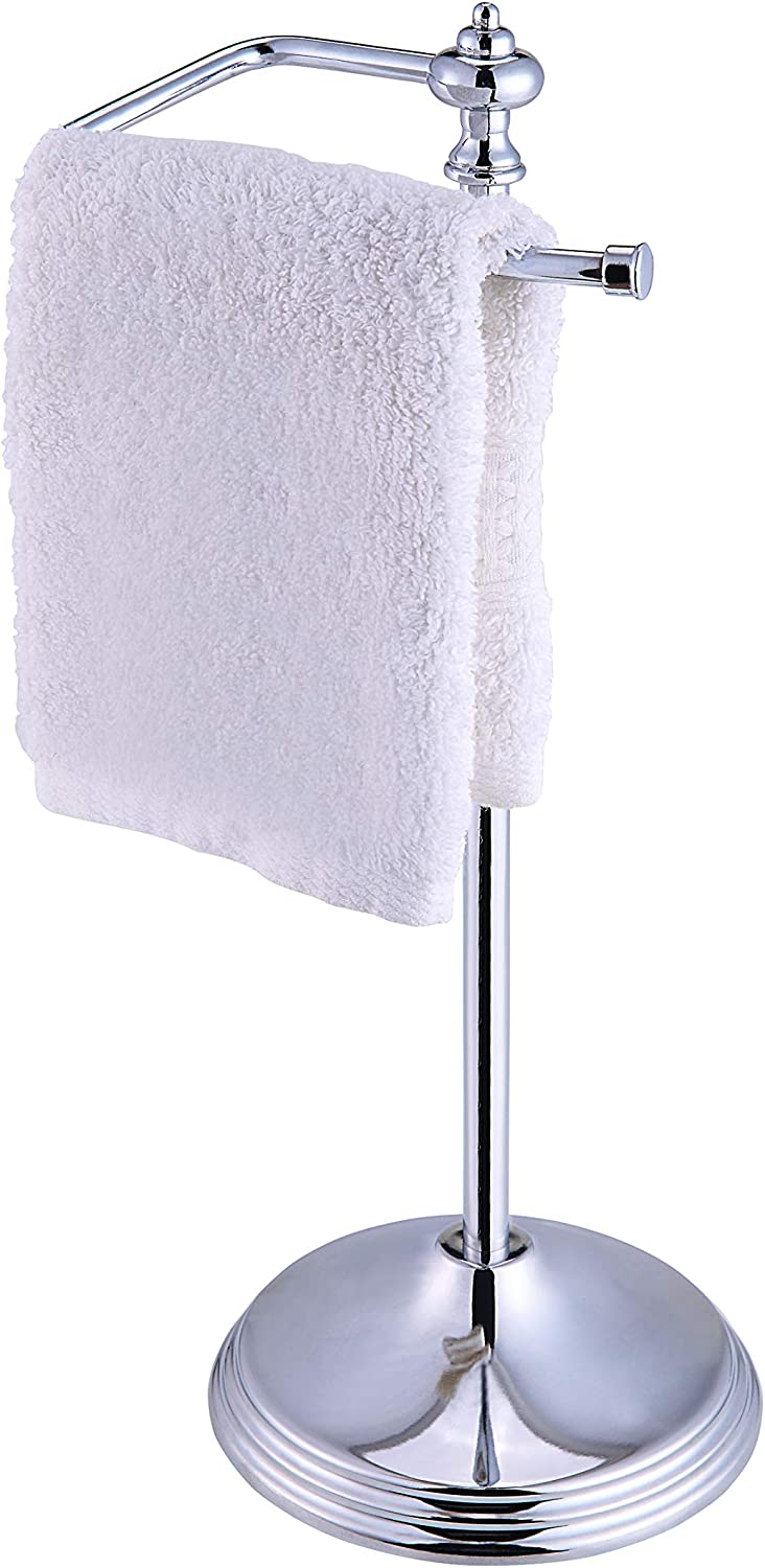SunnyPoint Heavy Weight Classic Decorative Metal Fingertip Towel Holder Stand for Bathroom, Kitchen, Vanity and Countertops; Hanging Bar is 14.2