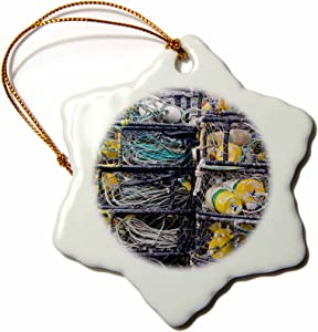 3dRose orn_93846_1 Oregon Coast, Newport, Crab Fishing Pots US38 JWI0254 Jamie and Judy Wild Snowflake Porcelain Ornament, 3-Inch
