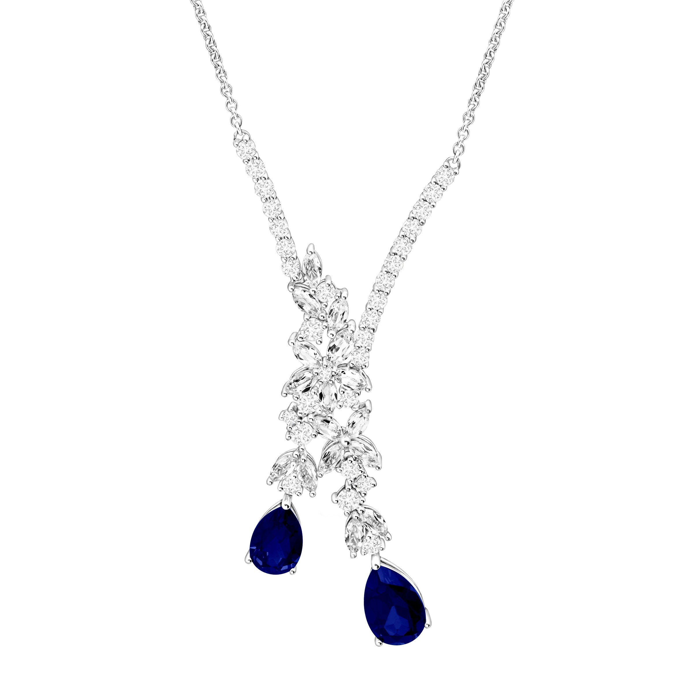 5 3/4 ct Blue & White Created Sapphire Garland Drop Necklace in Sterling Silver