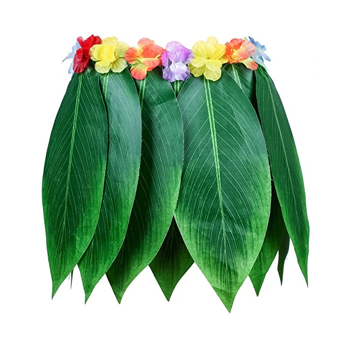 Amazoncom Hawaiian Leaves Skirt Green Grass Ti Leaf Hula Skirt