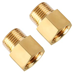 Brass Pipe Fitting, SUNGATOR Adapter, 1/2-Inch Male Pipe x 1/2-Inch Female Pipe (2-Pack)