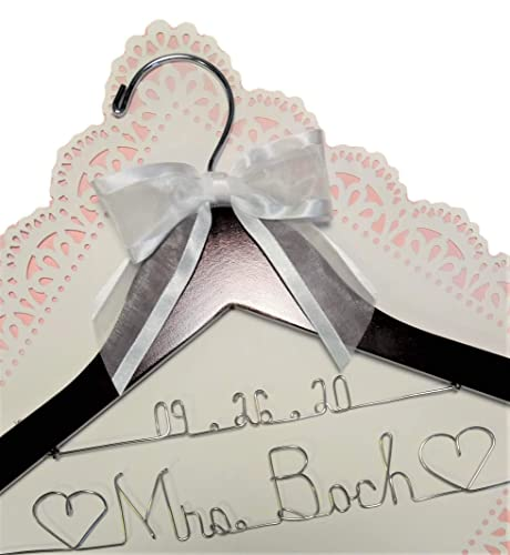 Wedding Dress Hanger Bride Name with date choice of 12 bow colors Dark Custom