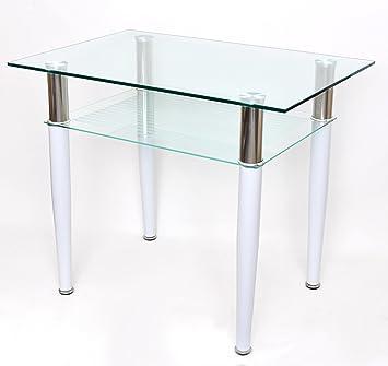 Esstisch glas edelstahl  Glastisch 60 x 90 cm Beistelltisch Esstisch Computertisch ...