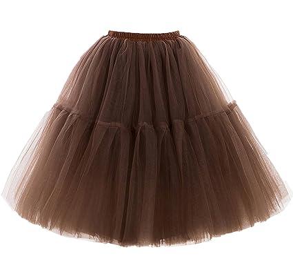 Facent Mujeres 5 Levels Petticoats Falda De Tul De Tutú hasta La ...