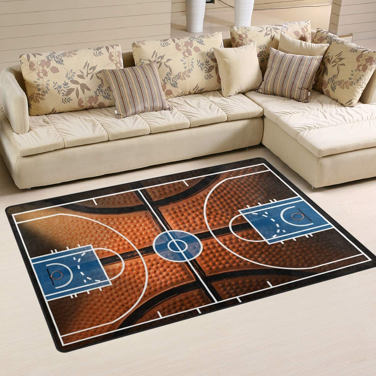 Use7 - Alfombra antideslizante de baloncesto para sala de estar o dormitorio infantil, tela, Varios Colores, 100 x 150 cm(3' x 5' ft)