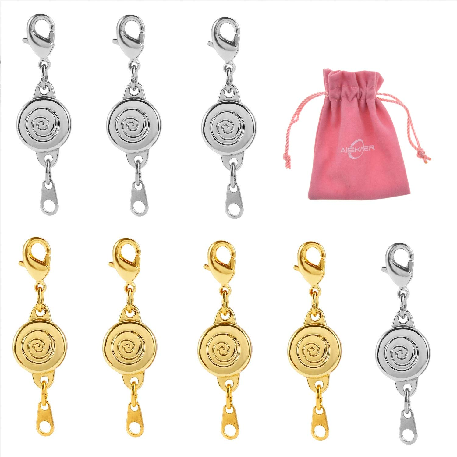 4 Silver+4 Gold Aiskaer 8 pcs Magnetic Necklace Clasp Extender Gold and Silver Color Tone for Jewelry Bracelet