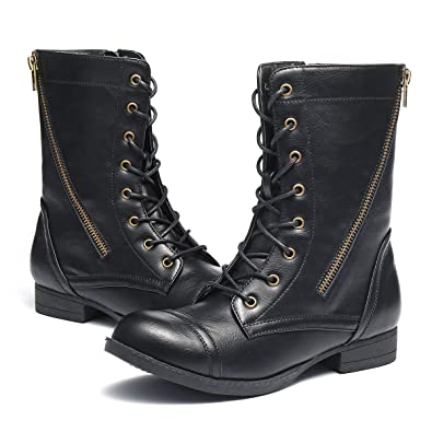13e1a98e6dd gracosy Women Ladies Flat Low Heel Lace Up Zip Boots Combat Army Military  Ankle Boots Winter ...