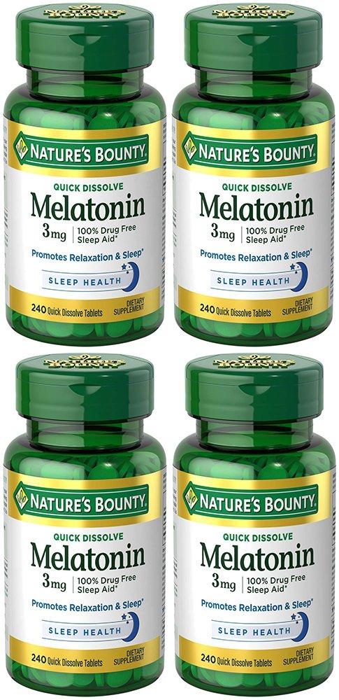 Melatonin 3 mg, 4 Bottles (240 Count)