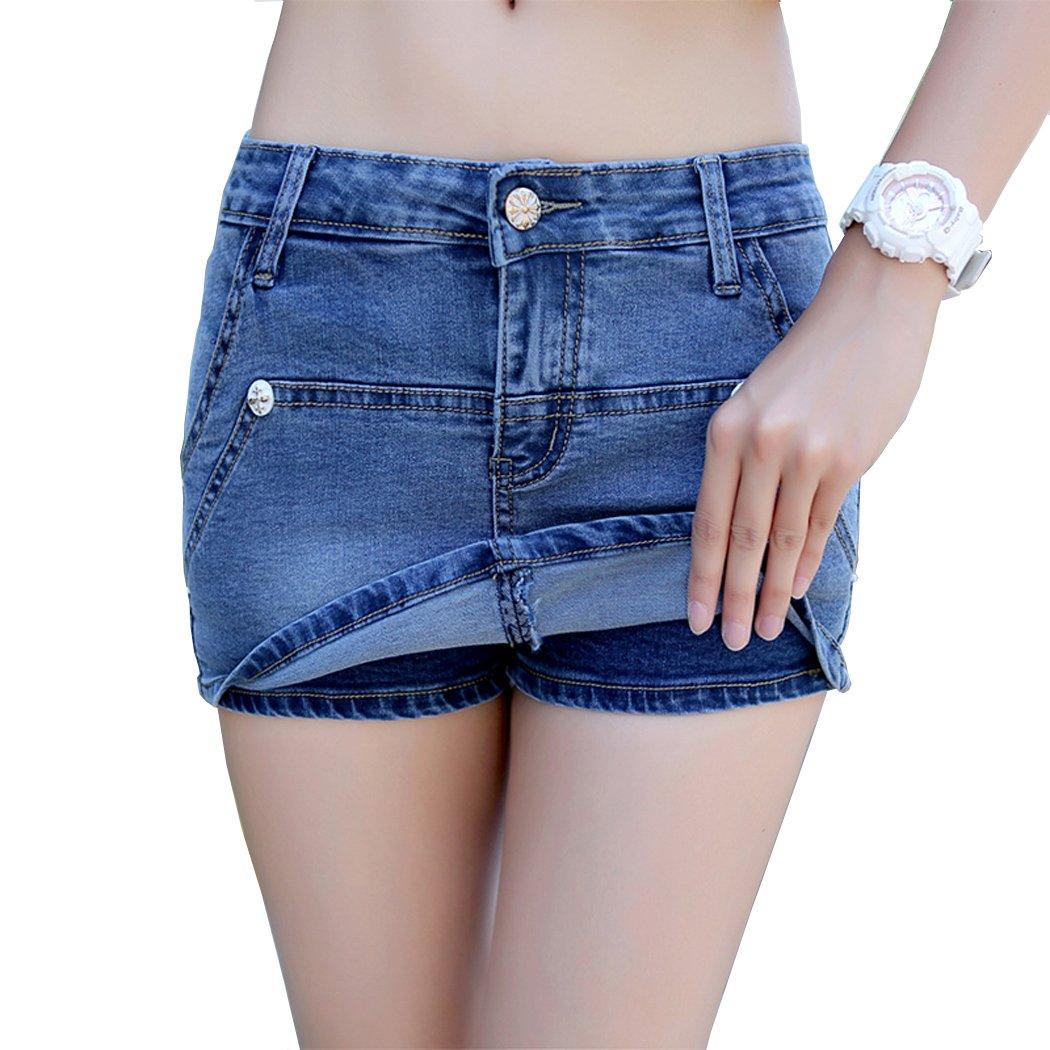 ShePretty Donne Estate Casual Denim Mini Gonna Blu Scuro Gonna di Jeans
