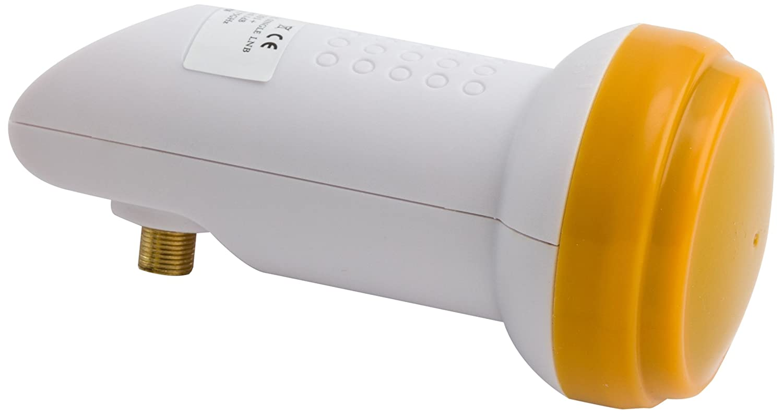 Golden Media - Blocco convertitore universale LNB singolo, ad alto guadagno, contatti dorati (Full HD, 4K, 0,1dB) 201 +