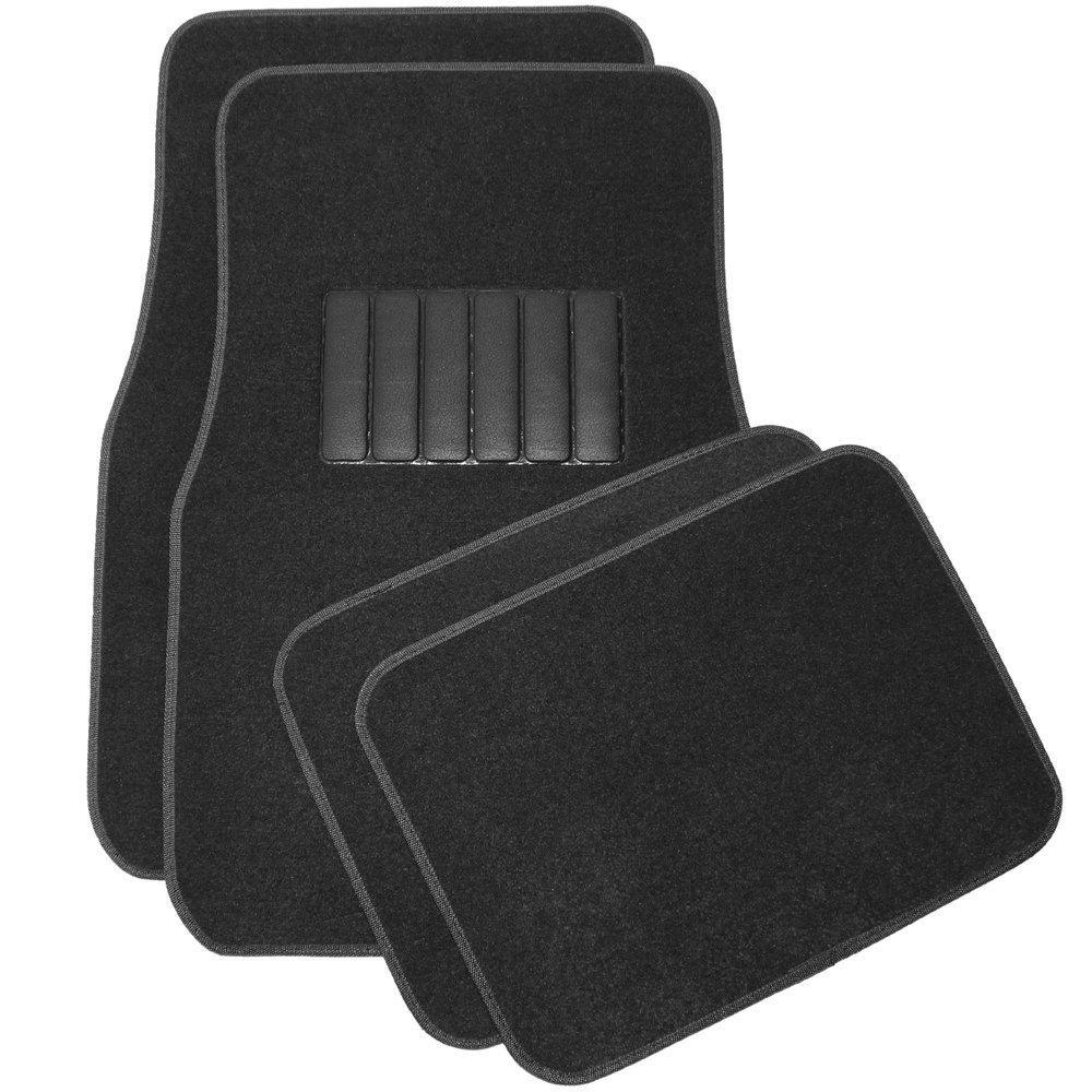 Universal Fit for Car Van Black Carpet Floor Mats SUV Truck OxGord Flat Cloth Solid Seat Cover Set