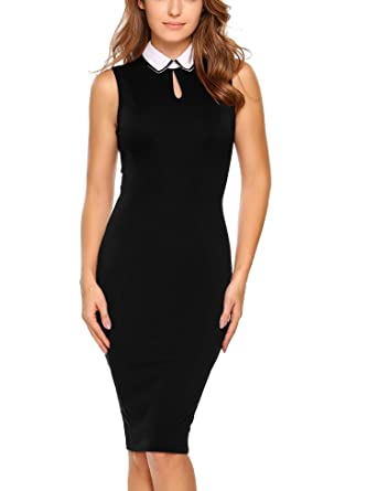 ANGVNS Women's Sleeveless Keyhole Polo Neck Office Wear Sheath Pencil Dress