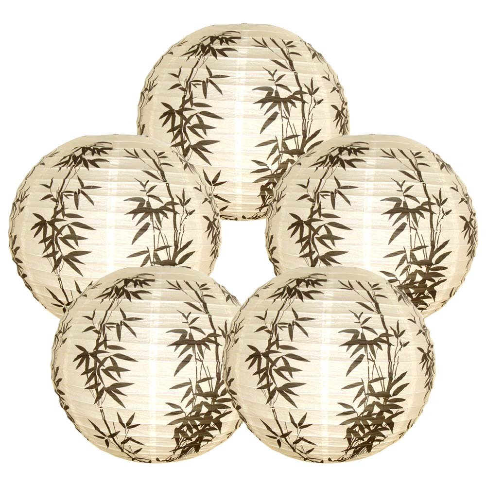 Just Artifacts 16-Inch Bamboo Chinese Japanese Paper Lanterns (Set of 5)