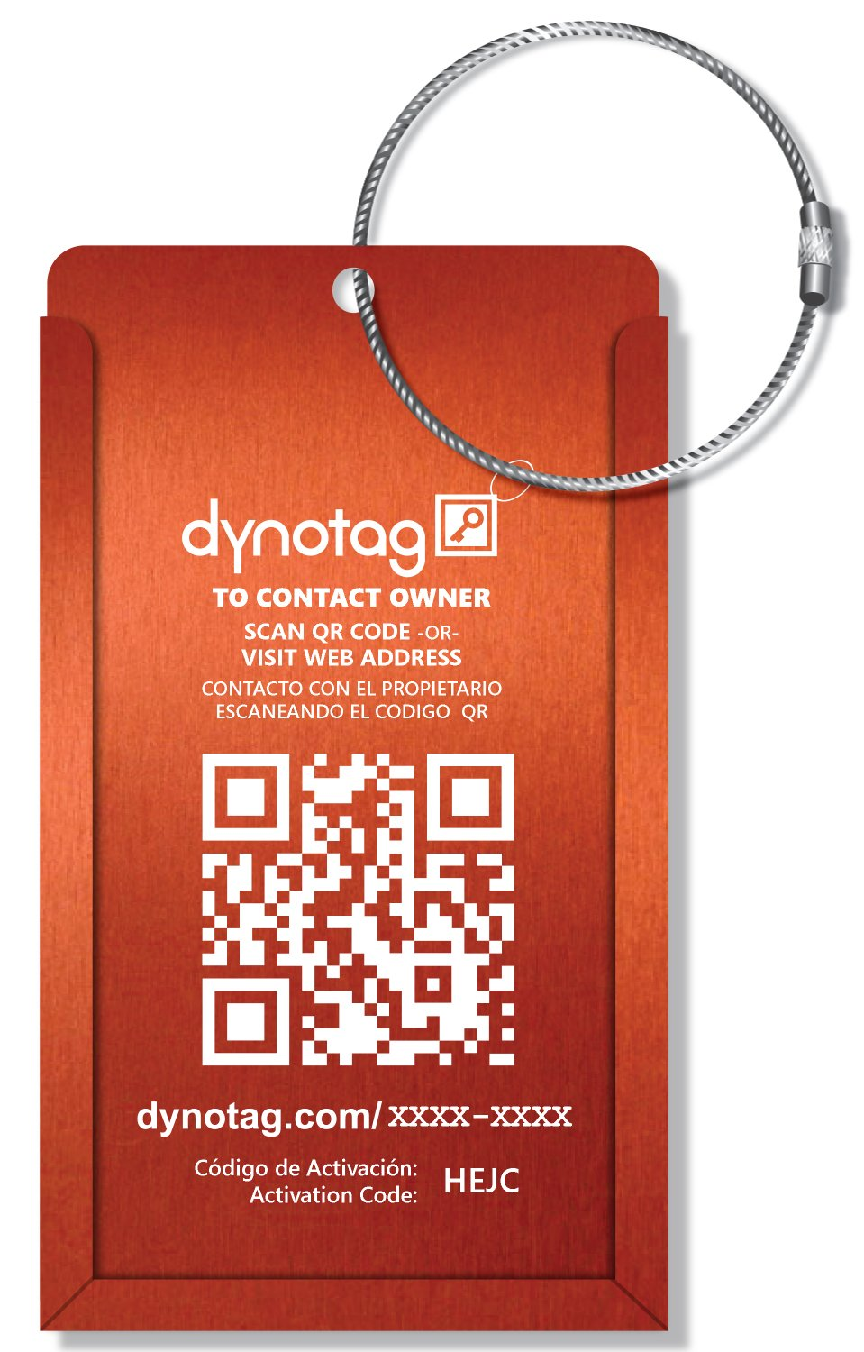 Dynotag Web Enabled Smart Aluminum Convertible Luggage ID Tag + Braided Steel Loop, with DynoIQ & Lifetime Recovery Service (Electric Orange) by Dynotag