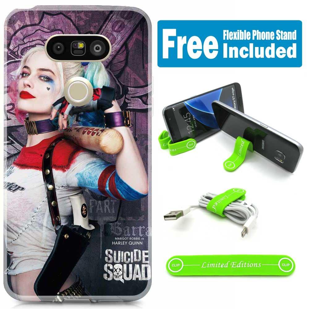 [ Ashely Cases ] LG v20カバーケーススキンwith柔軟な電話スタンド – Suicide Squad Harley Quinn Realパープル B075LSYR7V