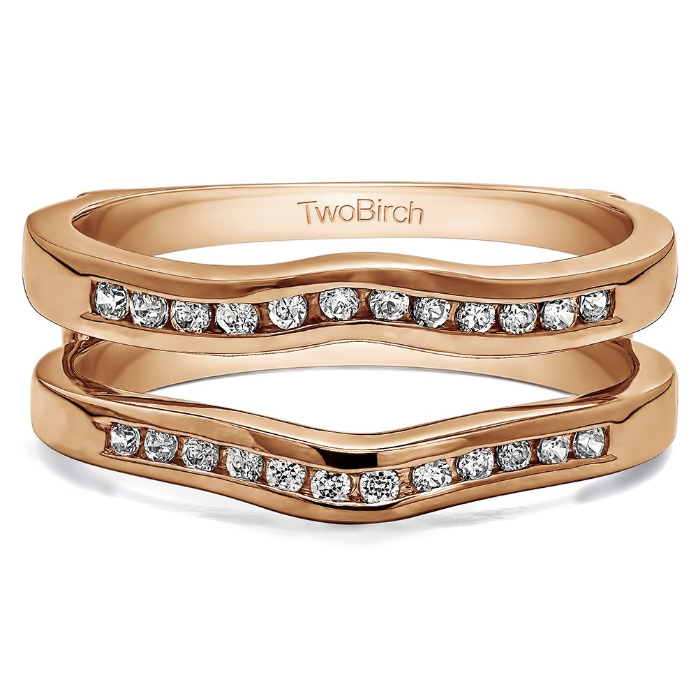 0.1 ct. White Sapphire Classic Curved Style Ring Guard in Rose Gold Plated Sterling Silver (0 ct. twt.)