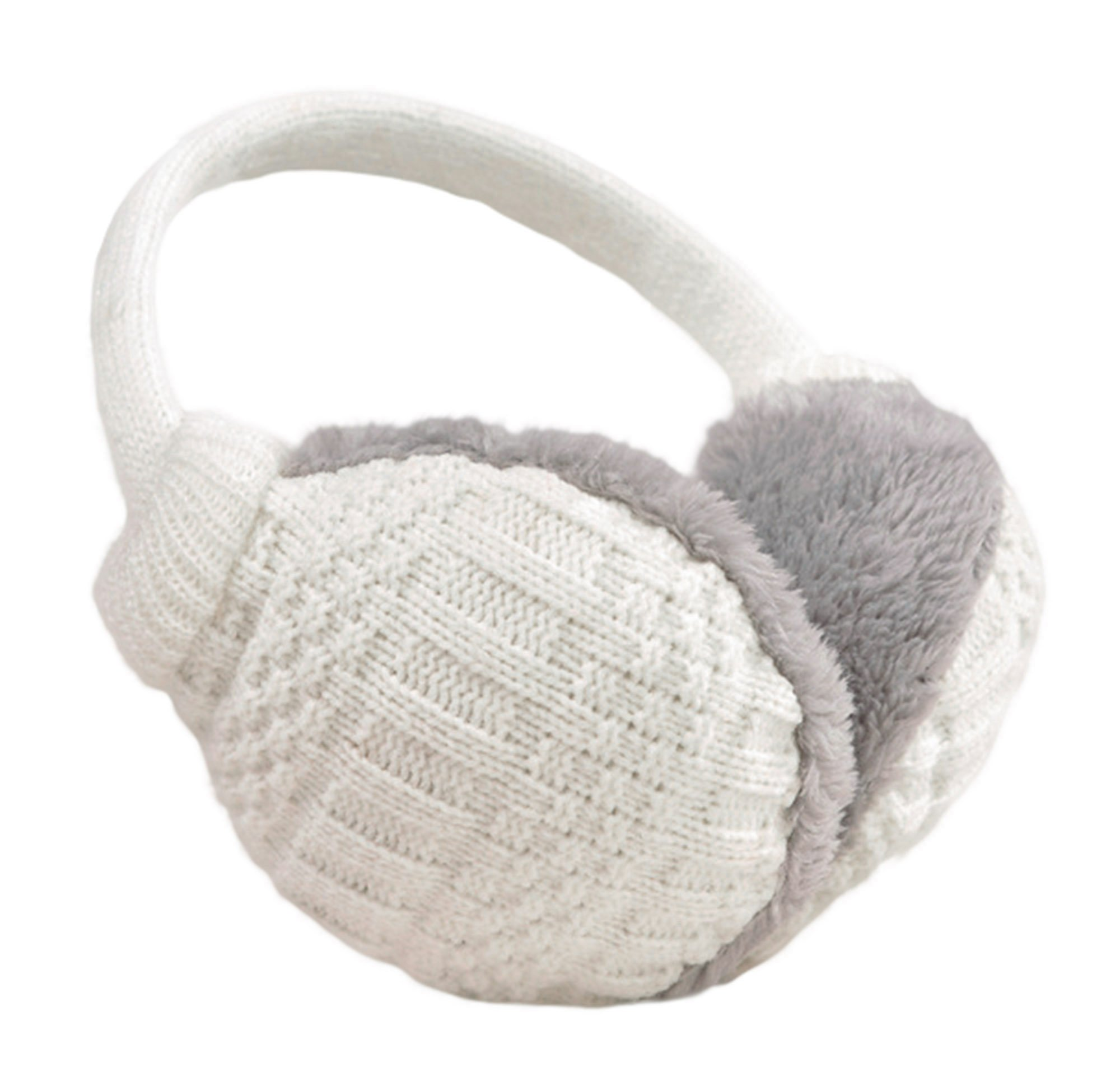 Knolee Unisex Knitting EarMuffs Faux Furry Earwarmer Winter Outdoor EarMuffs,White