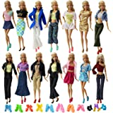 ZITA ELEMENT Lot 10 Set Mix Style Fashion Handmade Clothes Outfit + 10 Pairs Shoes for Barbie Doll XMAS GIFT