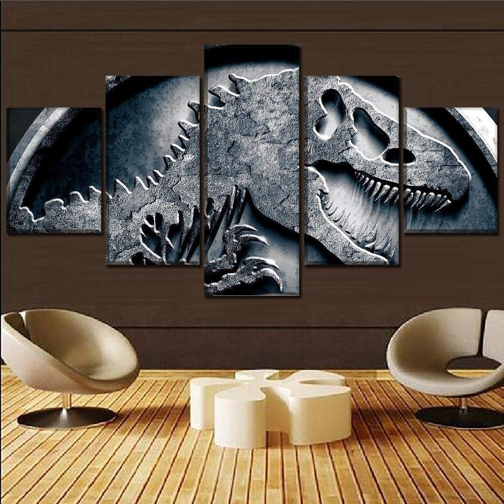 Hgjfg Lona Murales Cuadro moderno en lienzo 5 piezas XXL Impresiones En Esqueleto de dinosaurio Hd Arte De Pared Modulares Sala De Estar Decoración Para El Hogar Cuadros Lienzo 5 Piezas
