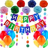 Jonami Premium Birthday Party Decoration Kit - 1 Happy Birthday Bunting Banner + Set of 8 Flower Pom Poms + 2 Rainbow Garlands of 3 meters + Pack of 12 Big Pearled Balloons.