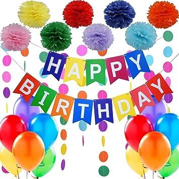 """Decoraciones Cumpleaños – 1 Bandera Banderines Feliz Cumpleaños """" Happy Birthday"""" + 8 Pompon Bola de Flor + 2 Guirnaldas Arco de Iris de 3 Metros + 12 ..."""