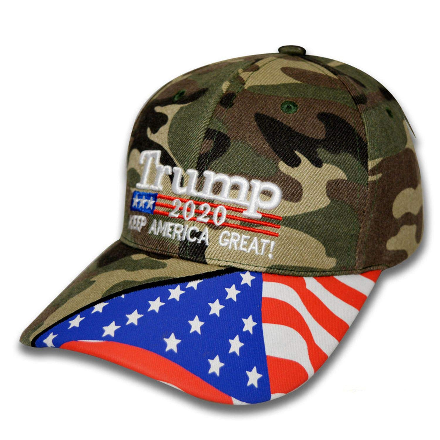 Donald Trump 2020 Baseball Cap Keep America Great Again Camouflage US Flag Adjustable Embroidery Hat,Red,Adjustable