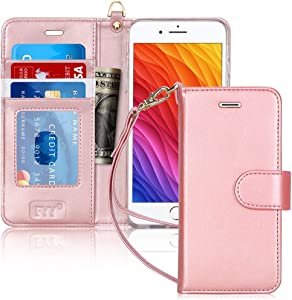 "FYY Case for iPhone 8 Plus/iPhone 7 Plus,[Kickstand Feature] Luxury PU Leather Wallet Case Flip Folio Cover with [Card Slots] [Wrist Strap] for Apple iPhone 8 Plus 2017/7 Plus 2016 (5.5"") Rose Gold"