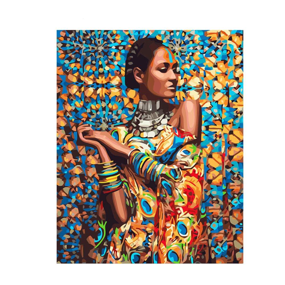 Pintura por N/úmeros Kits Mujer africana DIY Pintura al /Óleo Pintar por Numeros para Adultos Ni/ños Seniors Junior con Pinceles y Pinturas Decoraci/ón del Hogar 40x50cm Sin Marco