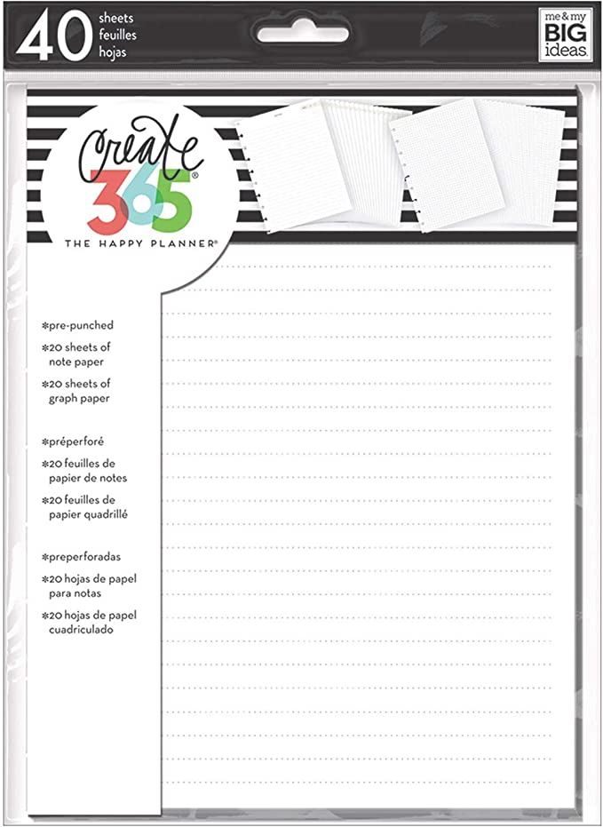 20 Sheets of Graph Paper and Note Paper The Happy Planner Scrapbooking Supplies Classic Size 40 Sheets of Pre-Punched Paper me /& my BIG ideas Note Filler Paper Doodle Take Notes