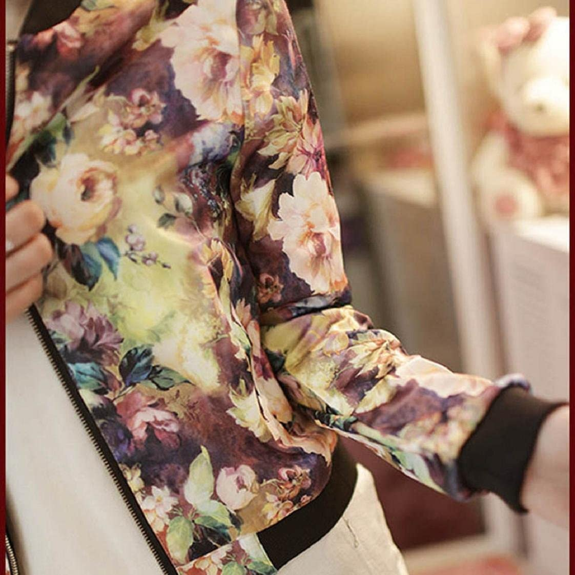 MChoice Fashion Women Stand Collar Long Sleeve Zipper Floral Printed Bomber Jacket