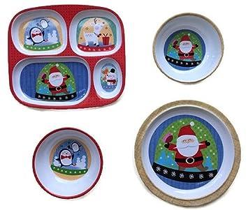 Christmas Holiday Children\u0027s Melamine Plates and Bowls Dinnerware 4-pc Set - Bundle of 4  sc 1 st  Amazon.com & Amazon.com | Christmas Holiday Children\u0027s Melamine Plates and Bowls ...