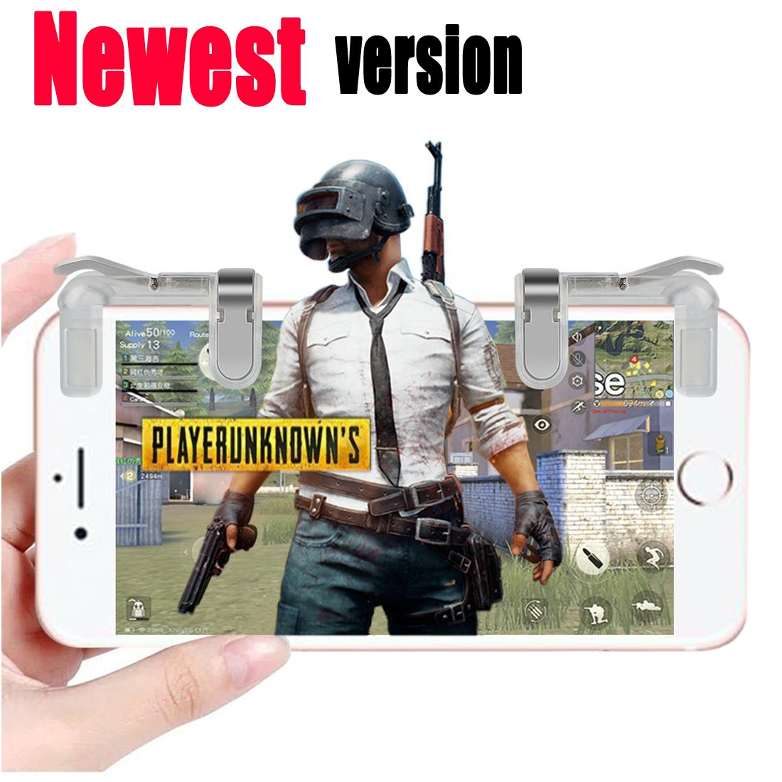Cumeou Mobile Game Controller,Sensitive Shoot and Aim Keys L1R1 Triggers Mobile Joystick with/without Portable Handle for PUBG/Fortnite/Rules of Survival,Compatible with Android Phone/iPhone