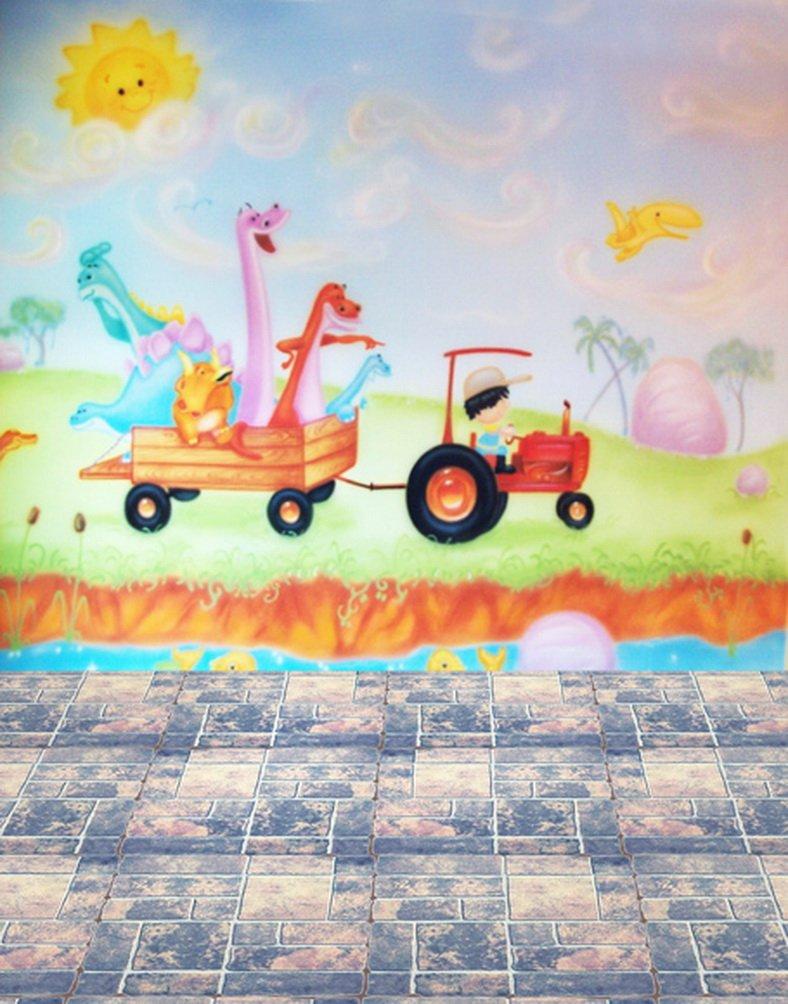 レンガ床Cartoon Dinosaur子供写真用背景幕写真小道具Studio背景5 x 7ft   B01I7XFWD6