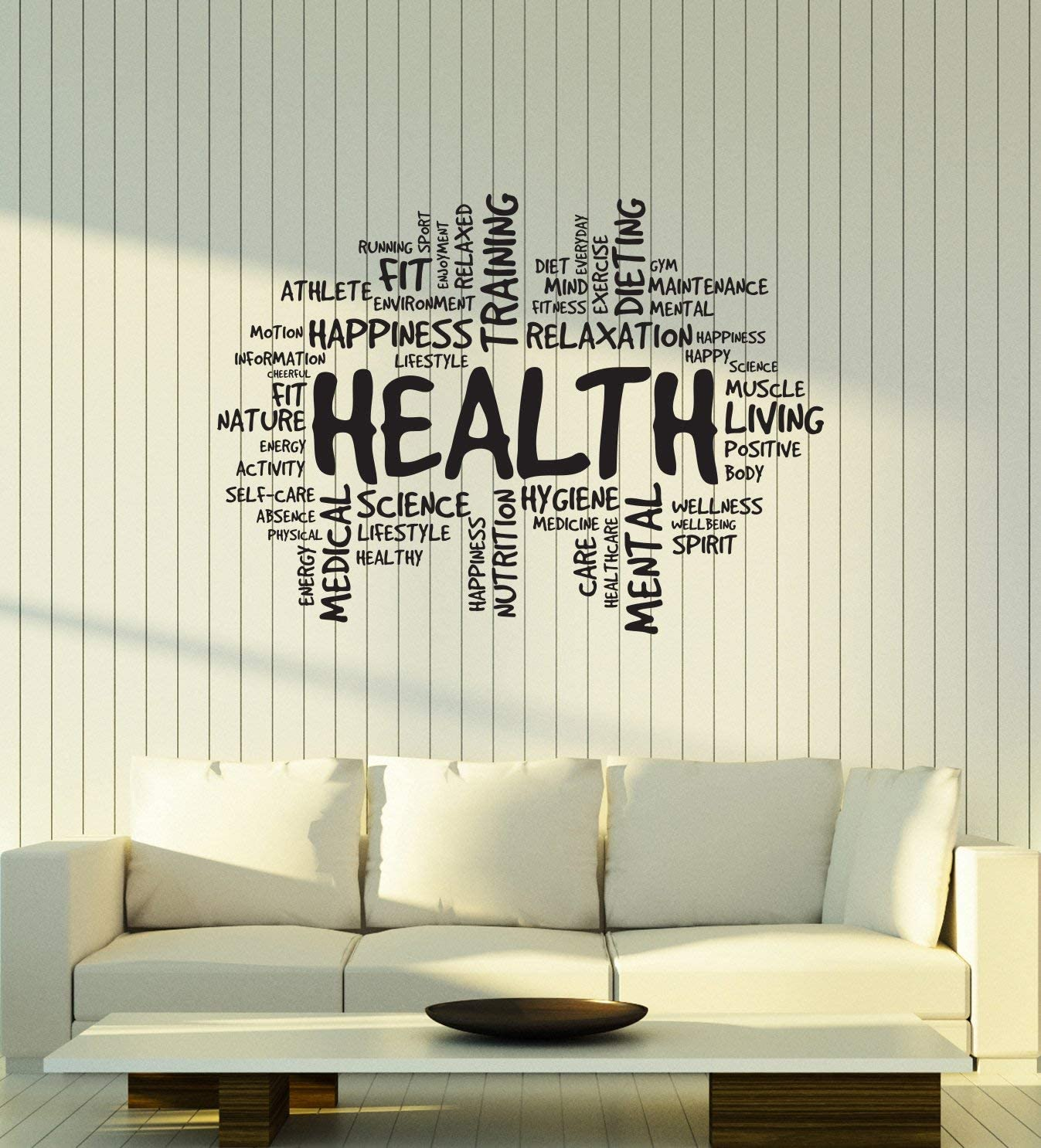 Vinyl Wall Decal Health Words Cloud Medical Room Relax Spa Relaxation Stickers Mural Large Decor (ig6159) Black
