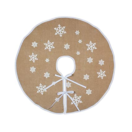 ourwarm 30 inch burlap christmas tree skirt white snowflake small tree skirt for christmas decorations