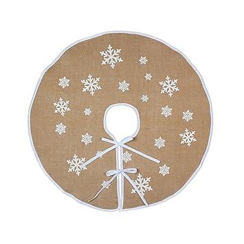 OurWarm yute base de árbol de Navidad 76cm de diámetro de Navidad año nuevo vacaciones decoración/blanco copos de nieve: Amazon.es: Hogar