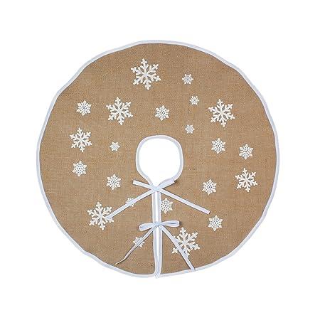 ourwarm burlap christmas tree skirt 30 inch vintage christmas decorations white snowflakes - Vintage Christmas Tree Skirt